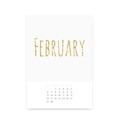 February 2017 Calendar Page vector