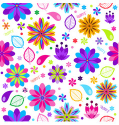 festive spring seamless pattern with flowers vector image