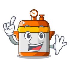 Finger electric pressure cooker isolated on mascot vector