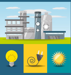 Flat concept related with power plant bulb vector
