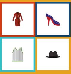 Flat icon dress set of clothes panama heeled vector