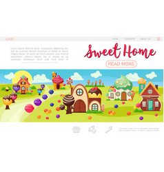 Flat sweet village web page template vector