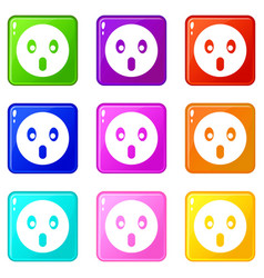 Frightened emoticons 9 set vector