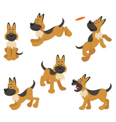 German shepherd puppy dog poses vector