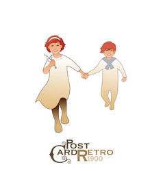 Girl and boy wearing retro clothes running and vector