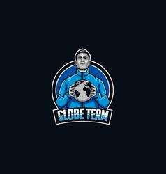 globe team mascot logo save earth mascot vector image