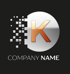 Golden letter k logo symbol in silver pixel circle vector