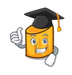 Graduation rigatoni character cartoon style vector