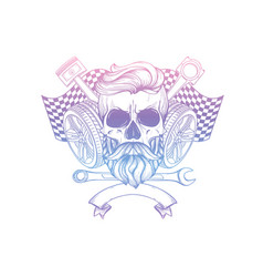 Hand drawn sketch skull with wrench vector