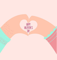 hands of a loving couple shaping a heart vector image