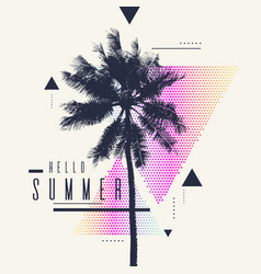 Hello summer modern poster with palm tree vector