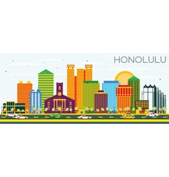 Honolulu Skyline with Color Buildings vector