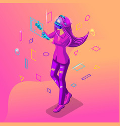 isometric girl playing in a virtual game the teen vector image