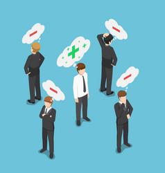 Isometric positive thinking businessman vector