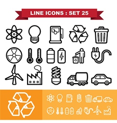 Line icons set 25 vector image