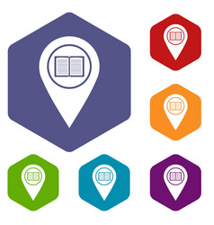 Map pointer with book icons set hexagon vector