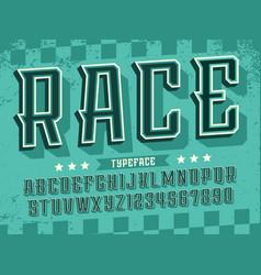 Modern professional 3d alphabet race vector