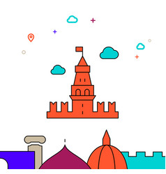 Moscow kremlin filled line icon simple vector