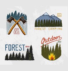 mountains and wooden logo coniferous forest vector image