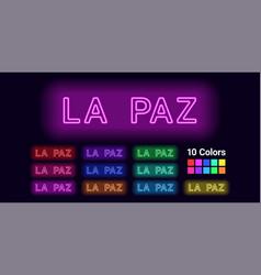 Neon name of la paz city vector