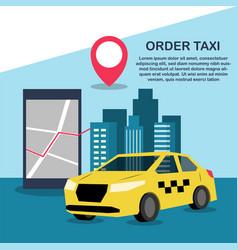 order mobile taxi through smartphone vector image