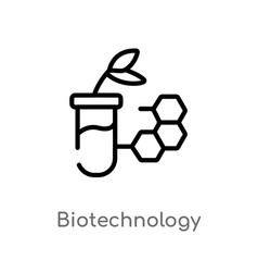 Outline biotechnology icon isolated black simple vector