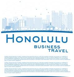 Outline Honolulu Hawaii skyline vector