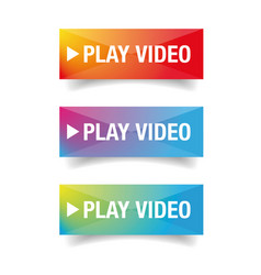 play video button set colorful vector image