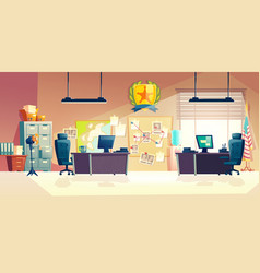 Police station office room interior cartoon vector
