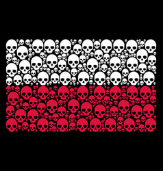 Polish flag collage of skull icons vector