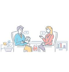 psychologist - modern line design style vector image