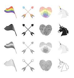 Rainbow flag crossed arrows fingerprints vector