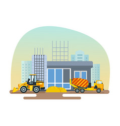 Reconstruction of post office work on forklift vector