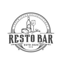 Restaurant bar salon vintage logo design food vector