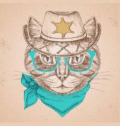 retro hipster animal cat hand drawing muzzle vector image