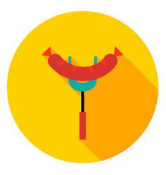 sausage grill spatula circle icon vector image