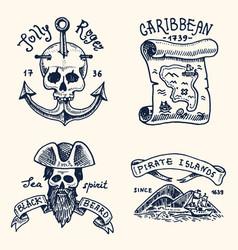 set engraved hand drawn old labels or badges vector image
