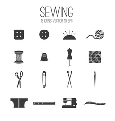 Set icon of sewing vector