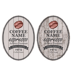 Set of labels for freshly roasted coffee beans vector