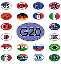 set oval stickers flags of the g20 countries vector image