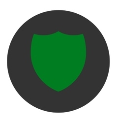 Shield flat green and gray colors round button vector