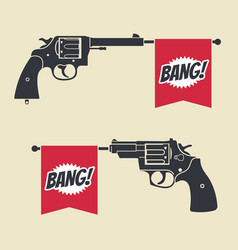 Shooting toy gun pistol with bang flag icon vector