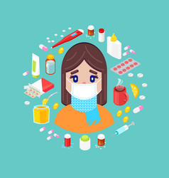 sick girl with different drugs vector image