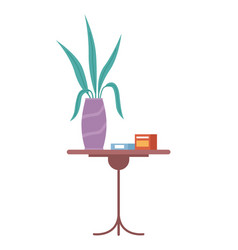 Side table in flat style houseplant and medicines vector