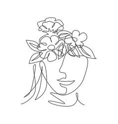 single continuous line drawing nature portrait vector image
