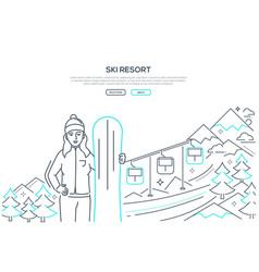 ski resort - modern line design style banner vector image