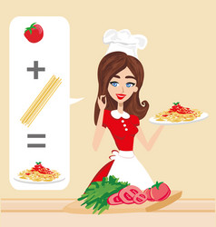 Smiling woman cooking spaghetti vector
