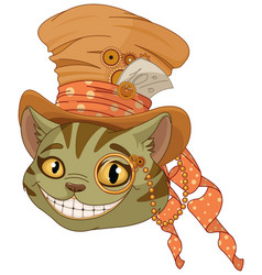 Steampunk cheshire cat in top hat vector