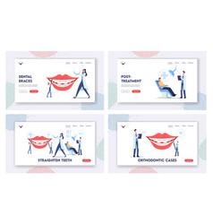 Straighten teeth landing page template set vector
