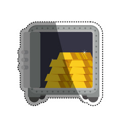 Strongbox safe gold bars vector